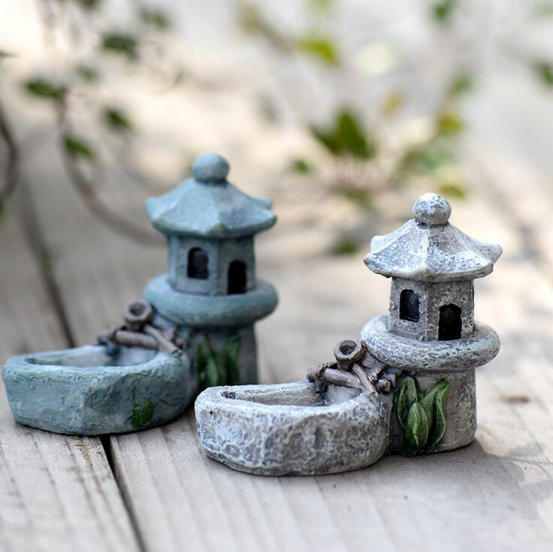 Mini Pool Tower Statue Resin Craft Home Decor Miniature Fairy Garden Decoration Accessories Figurine Birthday Cake Car Figure