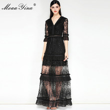 Moaayina модельер взлетно-посадочной полосы платье летом Для женщин V Воротник Половина рукавом Вышивка Блёстки с оборками благородный элегантное платье
