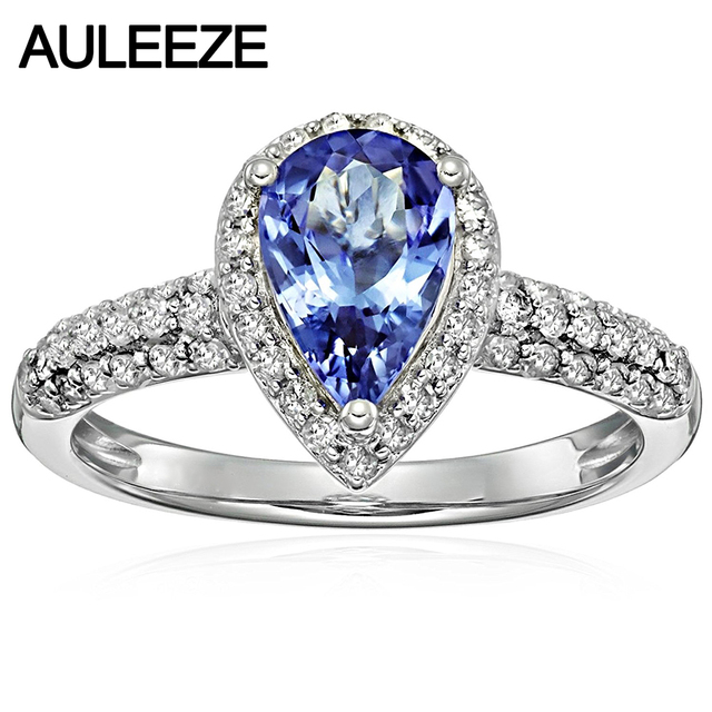 tanzanite wedding blue diamond curved white engagement loop gold round rings ring