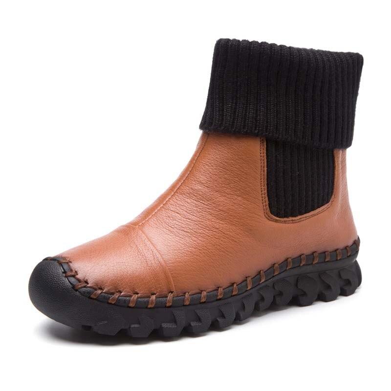 Mujer Plana grey Invierno Mano A Mujeres Black Zapatos De wine Red Hecha Botas Terciopelo Con Las 2018 Zapato brown Casuales Nieve Cómodo pwzBZS