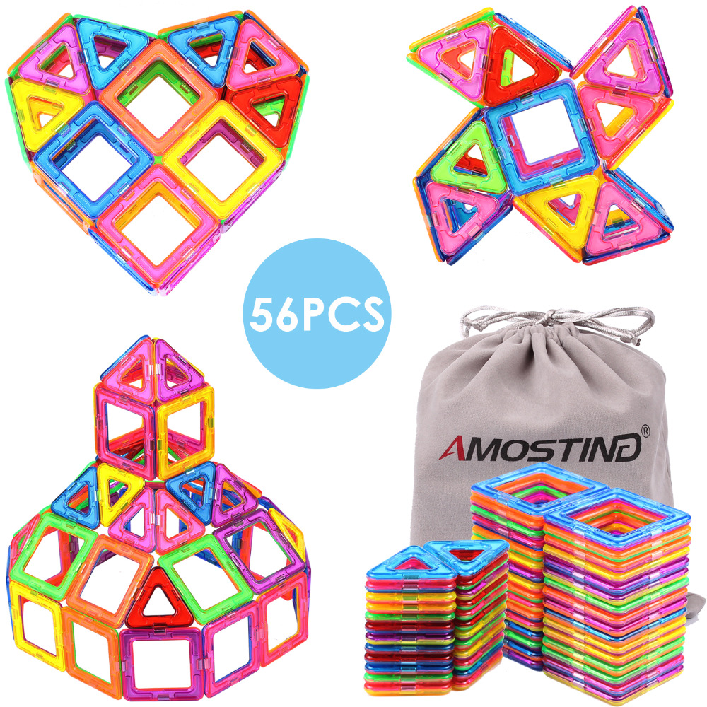 Children Toy Bricks56pcs Magnetic Building Toys Tiles Diy Block Gift