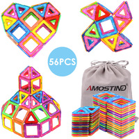 AMOSTING Magnetic Blocks Building Toy Tiles Sheet Kit 56pcs