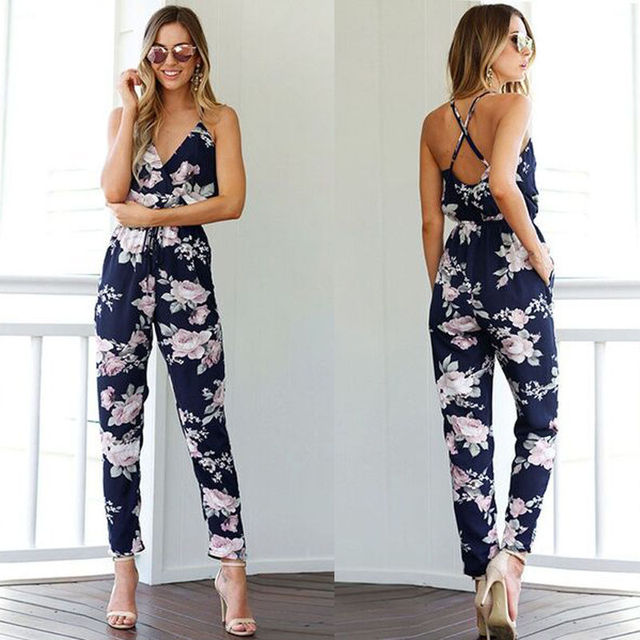 7d3407aa68a0 New Women s Clothing Floral Jumpsuits Sexy V-Neck Clothes for Party Ladies Spaghetti  Strap Romper Summer Backless Jumpsuit