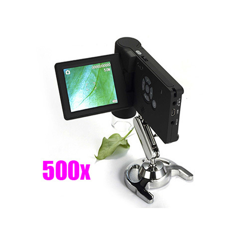 Mobile Portable Handheld DV/TV/USB Digital Microscope 500X 5.0MP 8 LED 3'' LCD Display SD Card portable 1x 600x zoom 3 6mp usb video digital microscope 4 3 inches hd lcd display for pcb inspection mobile phone repairing