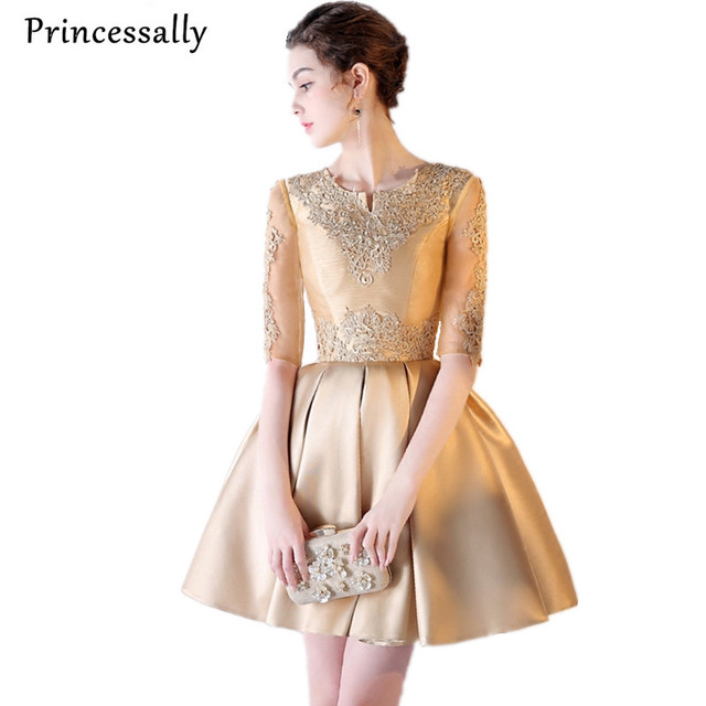 56d975492f4be Robe Cocktail Dress Gold Embroidery Lace Half Sleeve Elegant Bride Banquet  Party Gown Special Occasion Dresses For Women Vestido