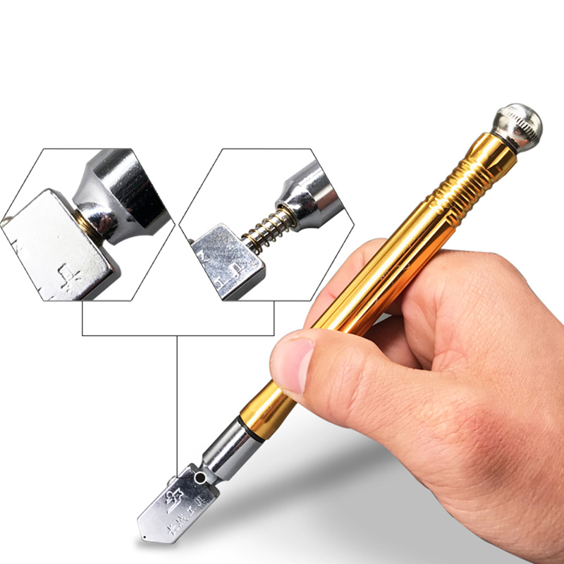 Professional Roller-type Glass Cutter Wheel Metal Handle Tile Knife Pen Glass Bottle Cutter Tools Construction Hand Tool