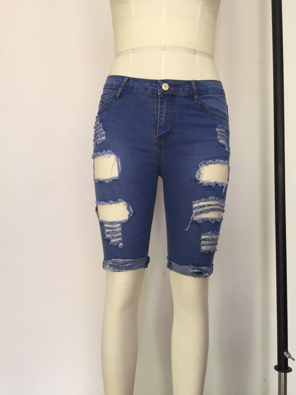 Aliexpress.com : Buy 2016 Blue Denim Destroyed Bermuda Shorts ...