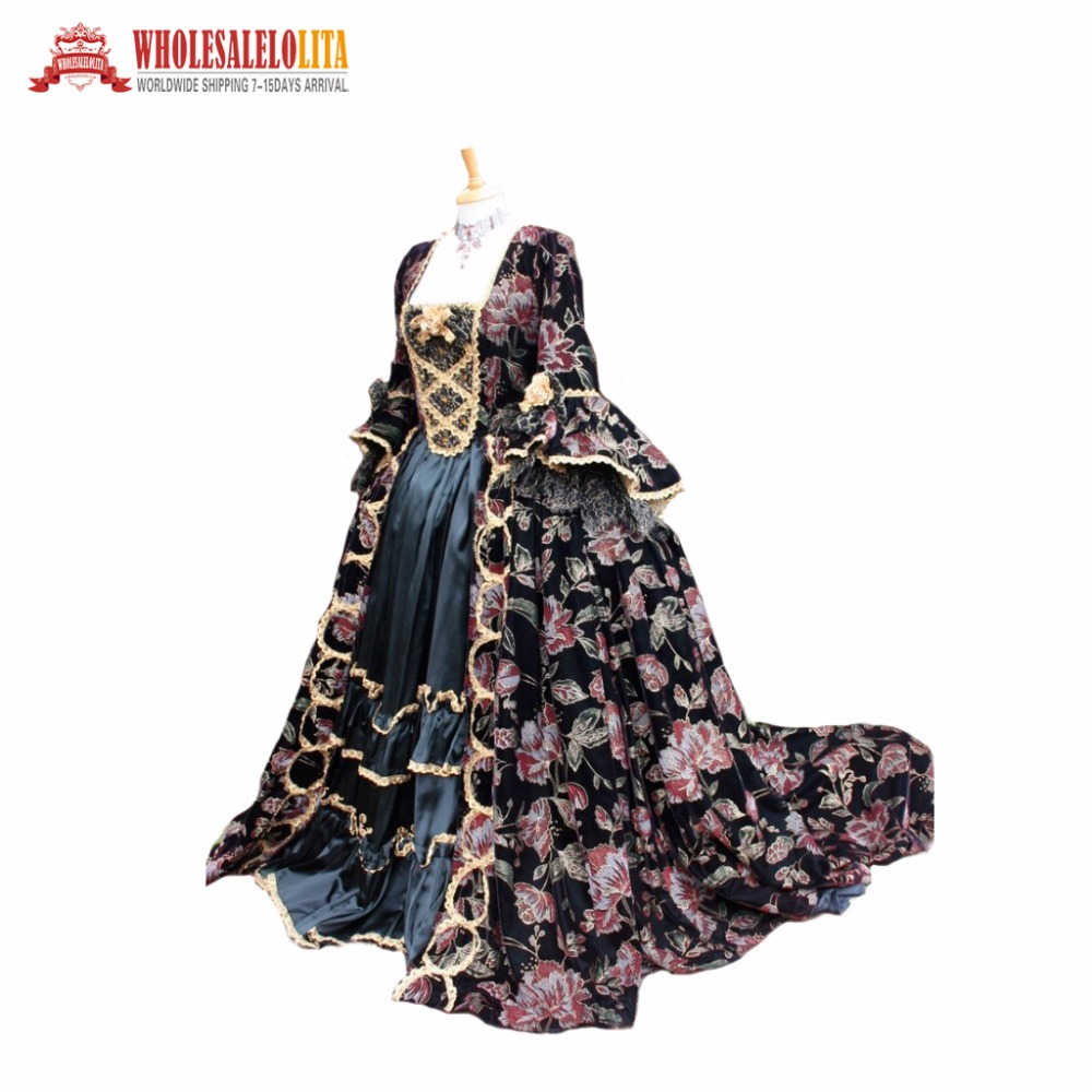 Fantasy Gothic Victorian Gown victorian ball gown Period  Long Train Costume Tailors Custom Made as You Measurements for sale
