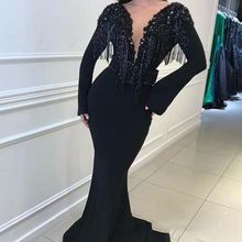 Charming Black Long Sleeves Mermaid Deep V-Neck Prom Gowns Prom