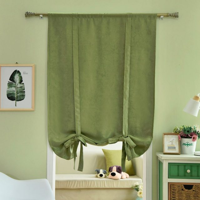 Roman Blinds Short Kitchen Curtains Blackout Thick Ready Made Rod Pocket Door Brown Blue Green Tie Up Balloon Solid