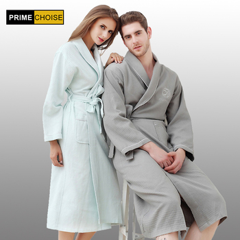 Summer Fashion Waffle Cotton Bathrobe Women Men Suck Water Kimono Bath Robe Big Size Sexy Dressing Gown Bridesmaid Robes