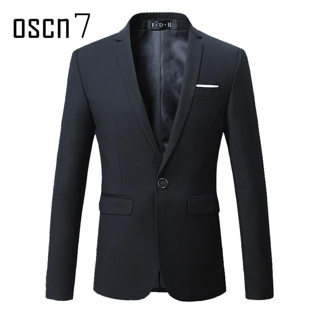 OSCN7 Solide Costume Veste Hommes Slim Fit Loisirs Blazer Veste marque-vêtements  Stade Costume Mens 0426b0e4b14