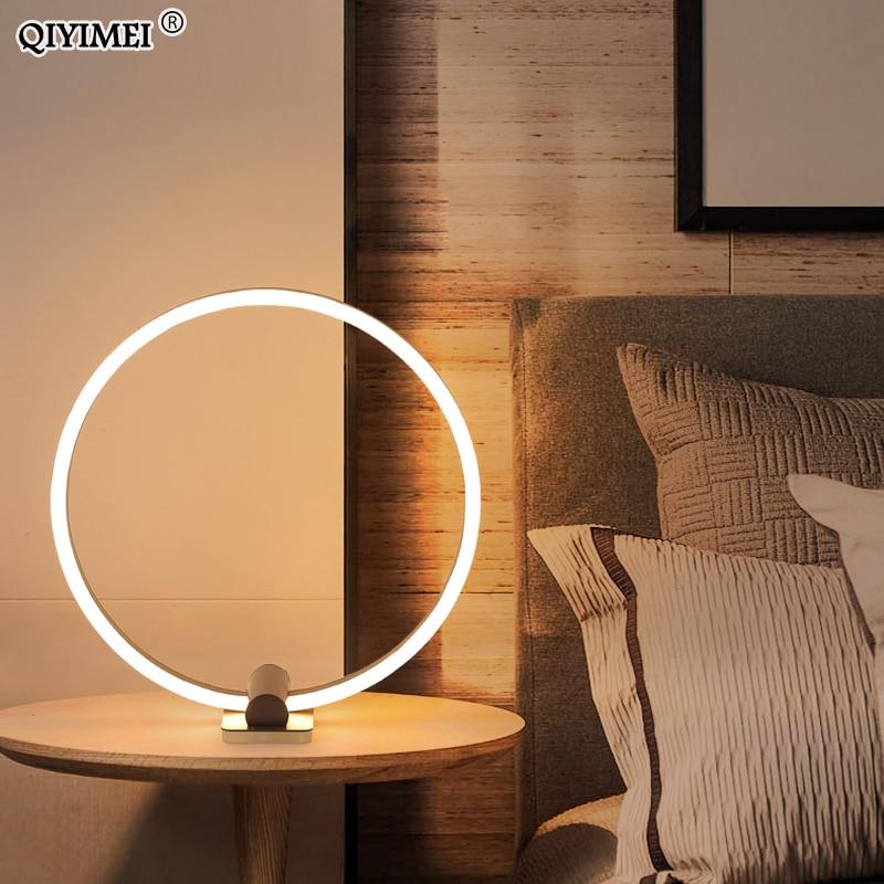 modern white coffee led table lamp art bedside study metal desk lights home lighting luminaria de mesa dimmable ac85 260v