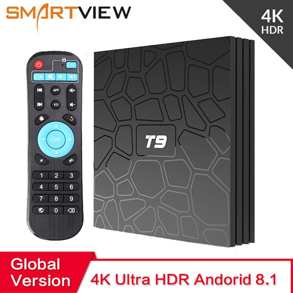 2018 Android 8,1 ТВ коробка VONTAR T9 4 Гб Оперативная память 32 ГБ/64 ГБ Встроенная память Rockchip RK3328 1080 P H.265 4 K проигрыватель Google магазине Youtube ТВ коробка