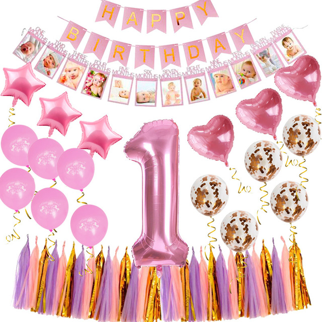 WEIGAO First Birthday 1st Decoration Girl Boy Party Foil Balloons Baby Shower Supplies 40inch