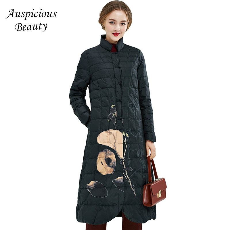 Winter Women Plate Buckle Stand Collar Down Jacket Womens Long Winter Printing Mom Installed Over Winter Warm Down Coats CX137