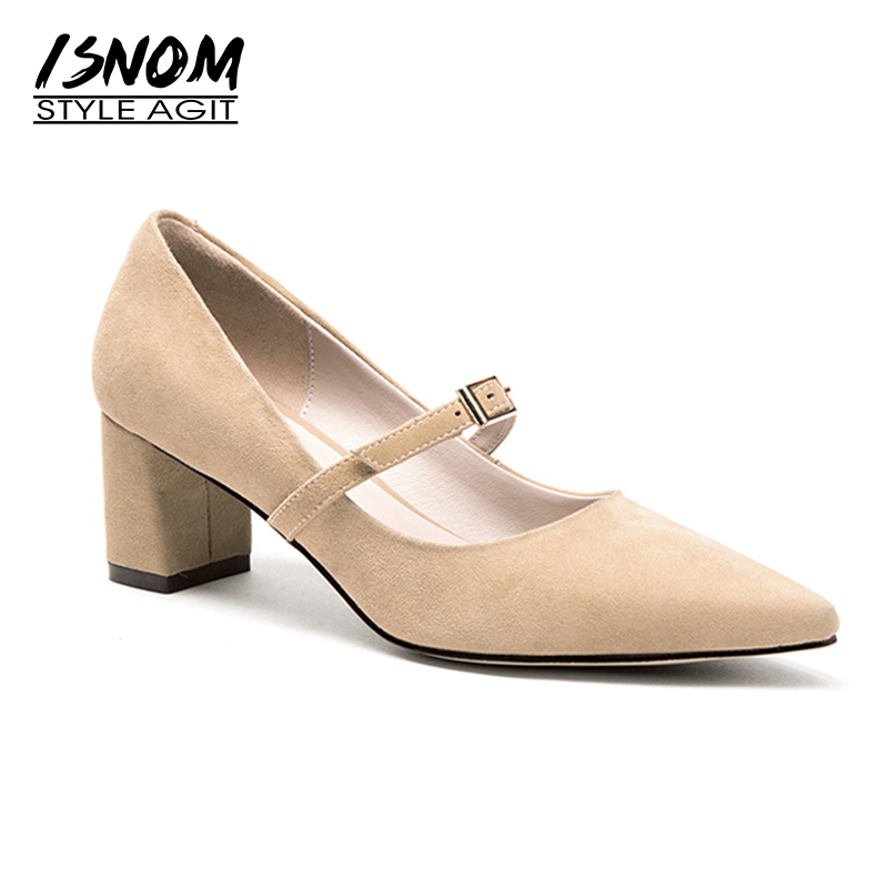 ISNOM 2018 Fashion Collection Women High Heels Shoes Woman Pump Kid Suede Leather Pointed toe Footwear Buckle Strap Thick Heels pearl high heels shoes thick green women strange suede abnormal catwalk genuine leather pointed toe strap mary jane lace up