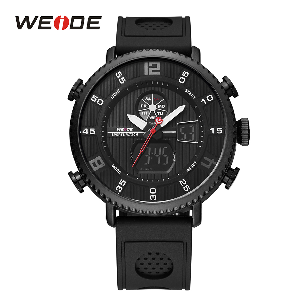 WEIDE Men Sport Stopwatch Calendar Date Day Back Light Buckle Analog Quartz Movement Digital LCD Display Strap Wristwatch Man weide 2 time zones men sports date lcd digital analog display repeater stopwatch quartz back light movement military watches men