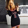2017 new arrival autumn dress women sexy sheath longsleeve bulls letter print casual mini dresses vestidos