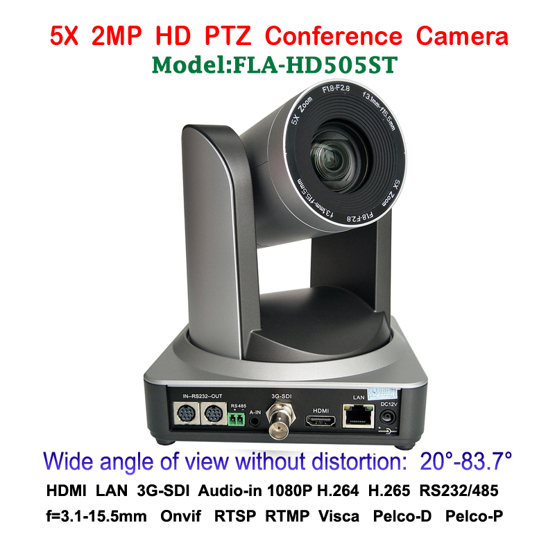 5x Optical Zoom 2MP Full HD 1080p up to 60fps PTZ Video Conferencing Camera IP Streaming & 3G-SDI and HDMI Output 2mp ptz 1080p 60fps ip live streaming camera 5x zoom 83 degree wide view with simultaneous hdmi and 3g sdi outputs