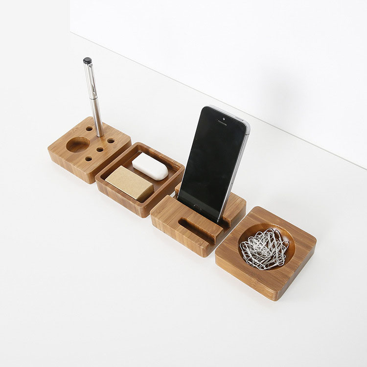 1 Pcs Creative desktop small items storage box bamboo material pencil box office supplies simple storage box 8*8*2CM 1