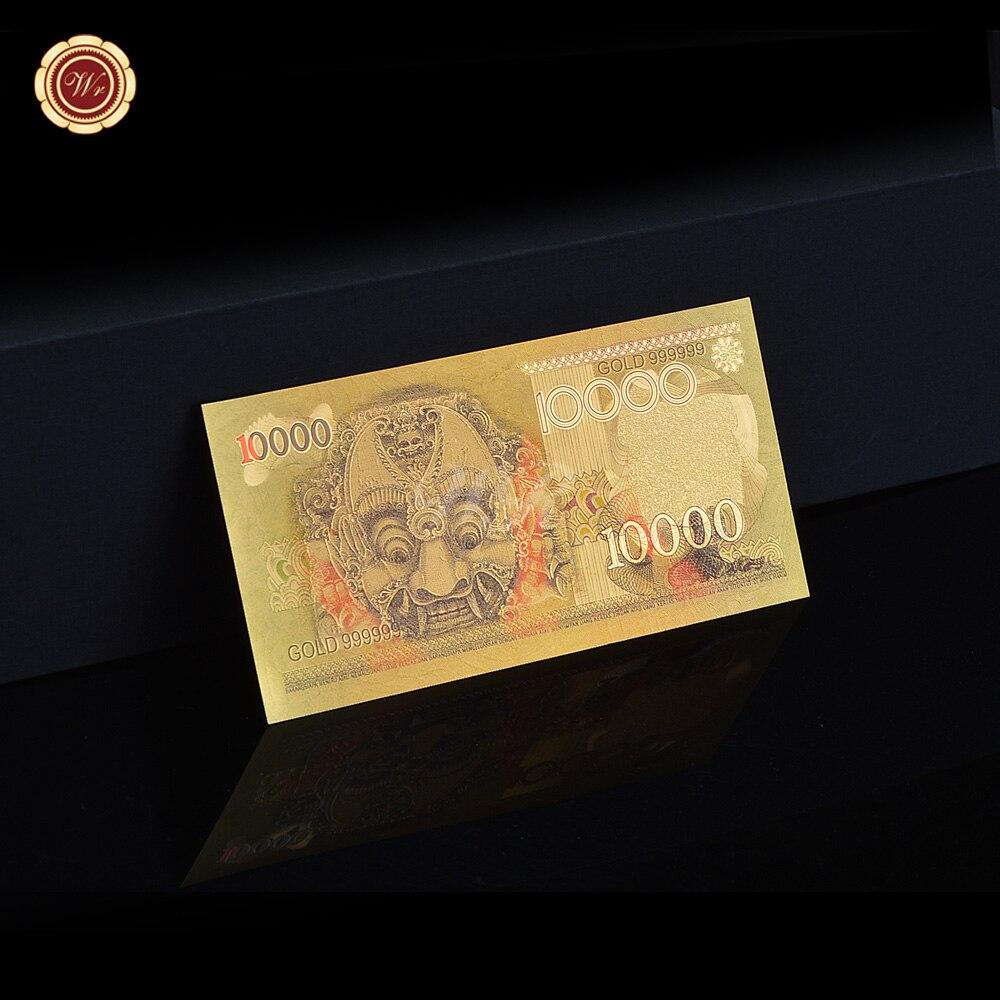 Colección Asia coloreado 1975 años Indonesia 24 k oro billete moneda papel réplica recuerdo regalo