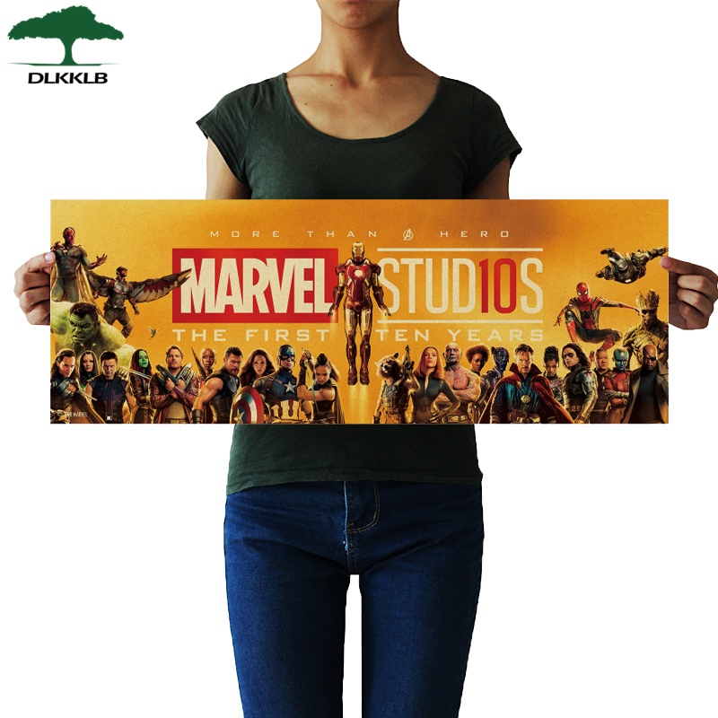 DLKKLB Marvel Movie Poster Vintage Avengers 10th Anniversary B Style Kraft Paper Decorative Painting Bar Cafe Home Wall Sticker