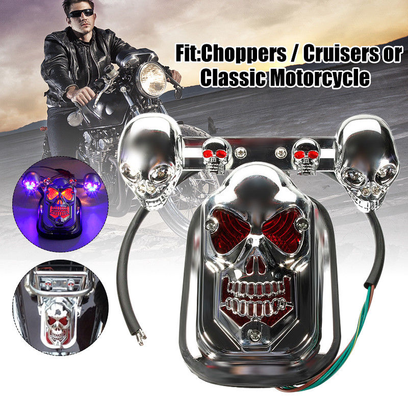20W Chrome Motorcycle Quad ATV Skull Turn Signal Rear Brake Tail Light For Harley