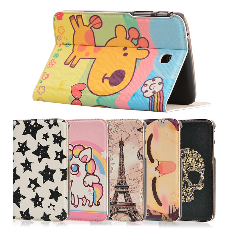Fashion painted Pu leather stand holder Cover Case For Samsung Galaxy Tab 3 7.0 T210 T211 P3200 P3210 7 inch Tablet + Gift цена