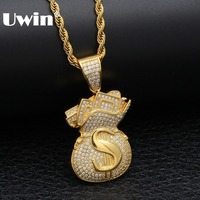 0f6776a8be6f ... para los hombres. Uwin US Money Bag Necklace Pendant Full Bling Cubic  Zirconia Iced Out Gold Chains Silver Gold