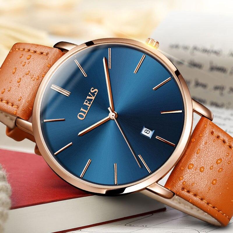 OLEVS Casual Watches Men Luxury Brand Quartz Calendar Watch Waterproof Genuine Leather Sport Male Wristwatch relogio Masculino