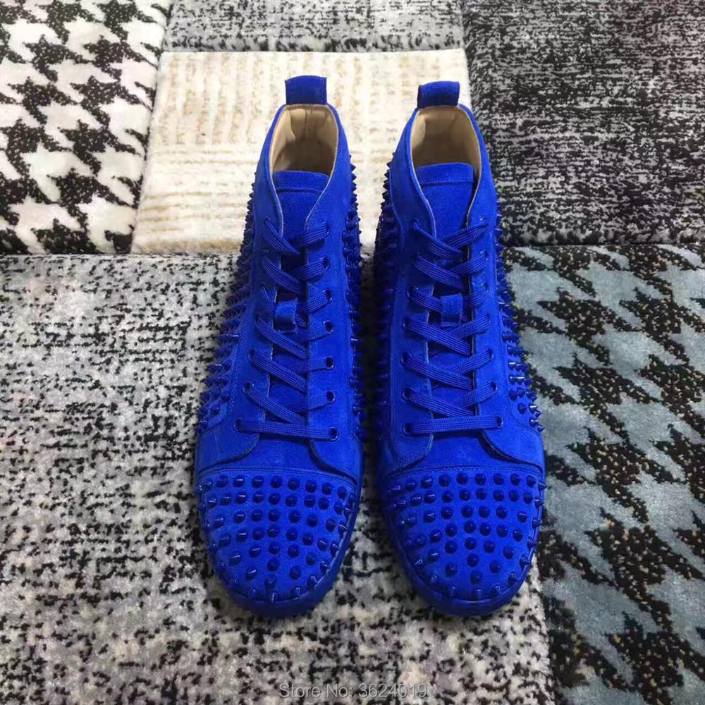 64e415da50b8 cl andgz Men shoes Blue Lace up Rivet Red bottoms Sneakers shoes high heels  shoes for men Leather Loafers Leather 2018 Footwear