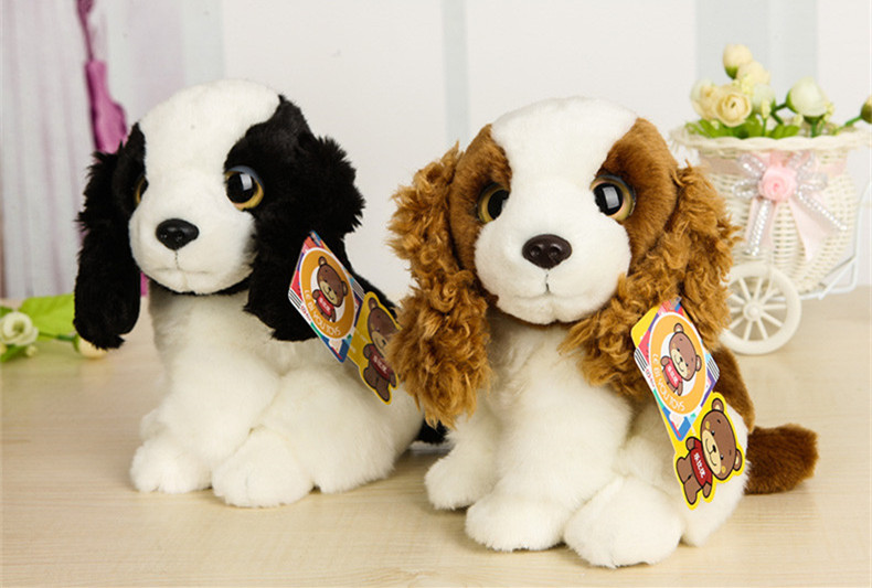 Free Shipping 18CM High Quality Simulation Dog Stuffed Toys Very Cute Cocker Spaniel Springer Spaniel Dog Stuffed Toy Kids Toys high quality trumpet sound leakage food ball dog toys