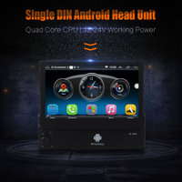 Single Din Android Quad Core 7 Inch Touch Screen Car Dash Player GPS WIFI Bluetooth Hean Unit Stereos 12V 24V for Car Truck