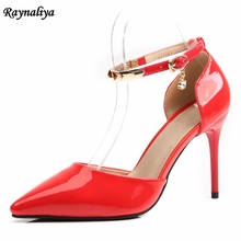 Genuine Leather Big Size 33-43 Pointed Toe Women Ankle Strap Pumps Fashion Thin High Heels Sandals Leisure Shoes 9CM XZL-B0053