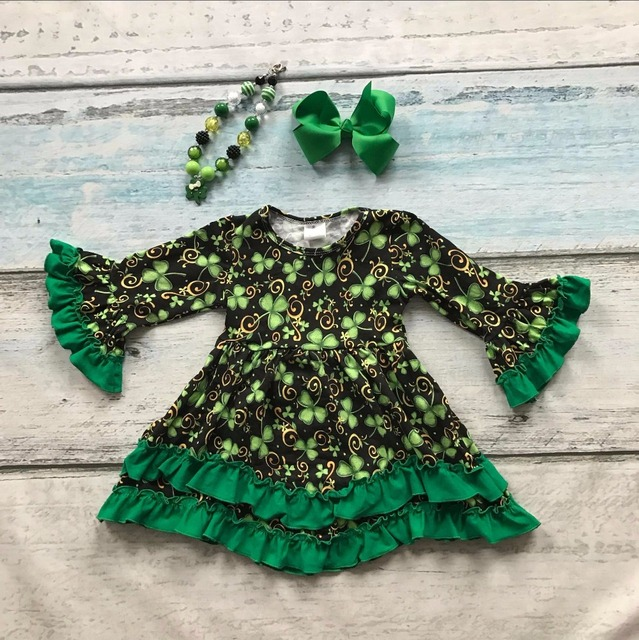 St.Martin's day girls baby kids clothes cotton Fall Winter green ruffles dress boutique flare sleeve matching bow & necklace