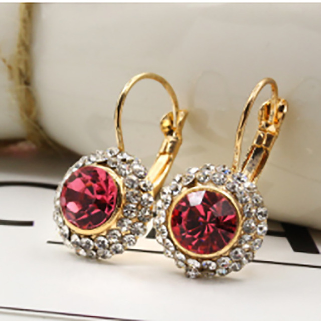 wine red maroon purple&red fuchsia faceted cut glass bead charm pave white clear rhinestone gold silver hoop earrings for women