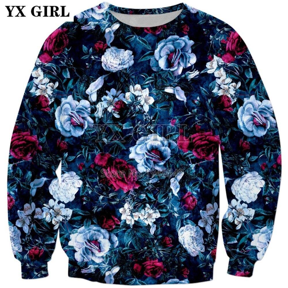 2018 New Fashion Mens Sweatshirt flowers Night Garden Blue Print 3D Hoodie Men Women Hipster Sweatshirt