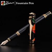 Luxury Picasso 10K Gold pimio Fountain pen Ink pen High quality goods with beautiful gift box caneta tinteiro Stylo plume 03843