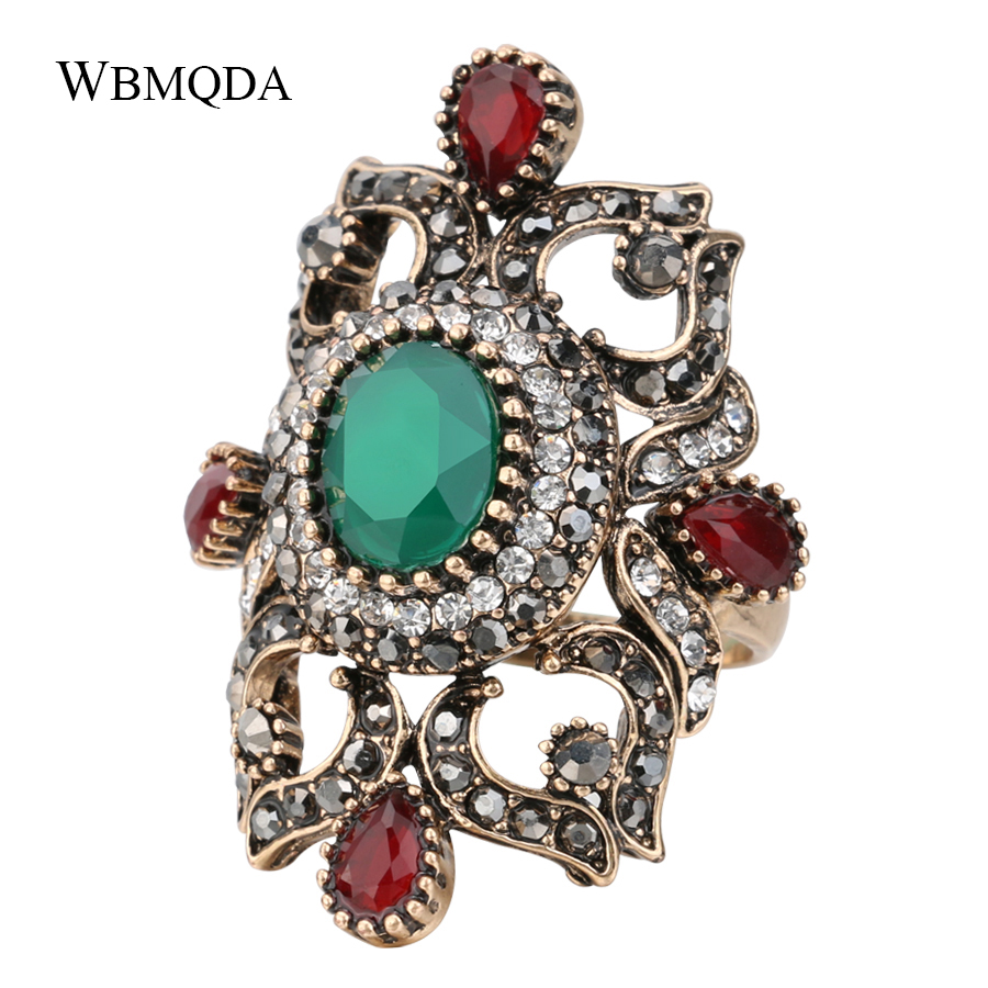 Unique Big Bohemian Ring Turkish Antique Gold Crystal Rings For