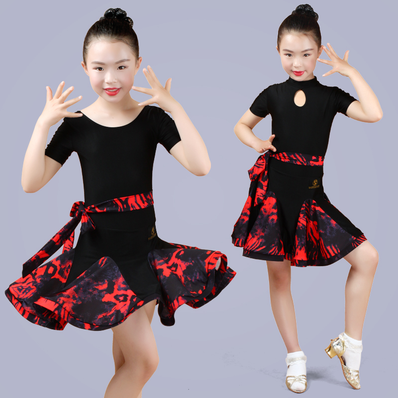 Latin Dance Dress For Girls Short Sleeve Red Leopard Print Rumba Samba Salsa Cha Cha Clothing Children Practice Dancewear DN2694