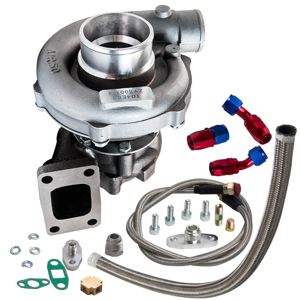 T04E T3/T4 A/R.57 73 TRIM 400+HP STAGE III TURBO CHARGER+OIL FEED+DRAIN LINE KIT - 2