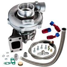 Turbocompresor Universal T3 T4 T04E .57 de alta calidad, turbocompresor de aceite frío y aceite, línea de retorno de alimentación