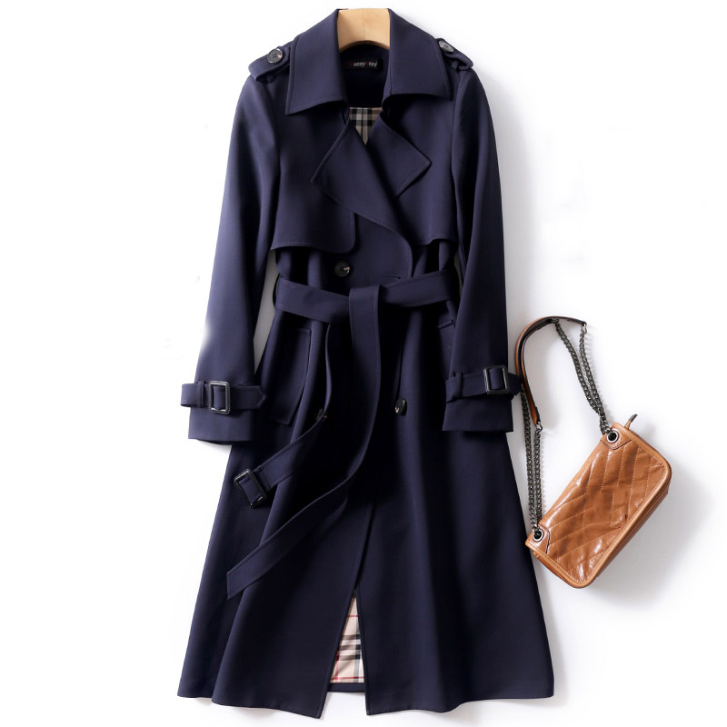 Adjustable waist sashes trench coat women double breasted turn down collar slim thin outerwear 2019 autumn winter