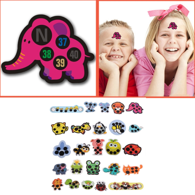5Pcs Baby Kid Forehead Cartoon Head Thermometer Fever Body Temperature Test Hot W15