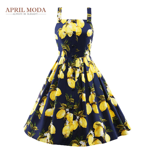 db017eda45972 Plus Size Pleated Spaghetti Strap 50s Vintage Dress Lemon Printed Audrey  Hepburn Style Summer Casual Women Party Dresses 2017