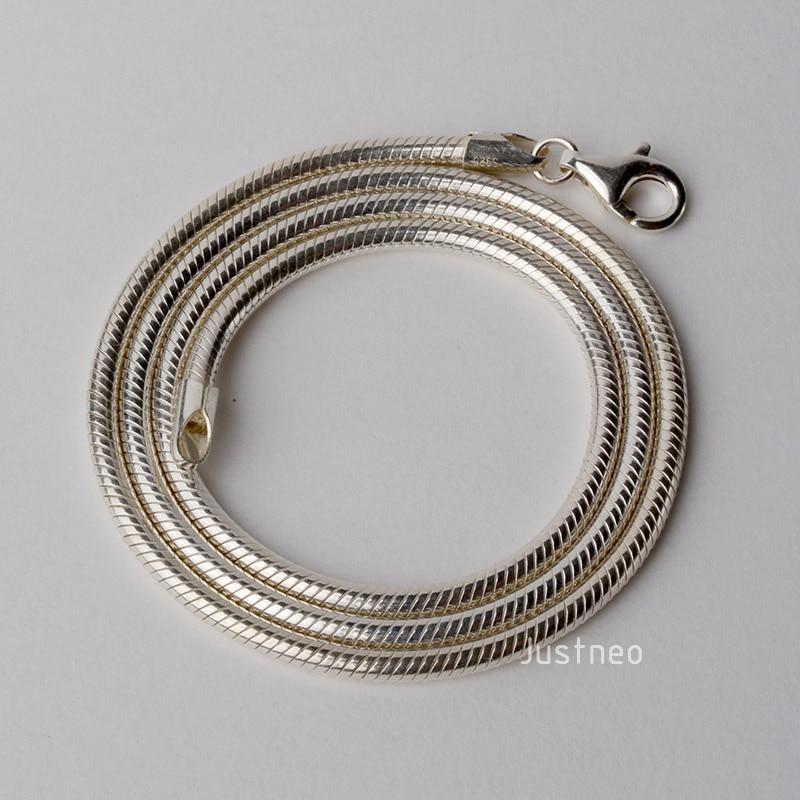 JustNeo solide 925 collier en argent sterling avec chaîne de serpent, chaînes de base-in Colliers chaîne from Bijoux et Accessoires    2