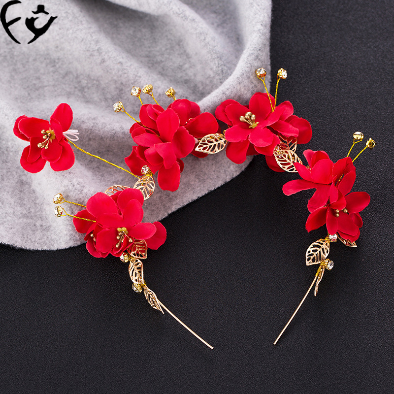 The bride headdress manual gold leaf red headdress flower hair band Toast wedding dress cheongsam clothing accessories