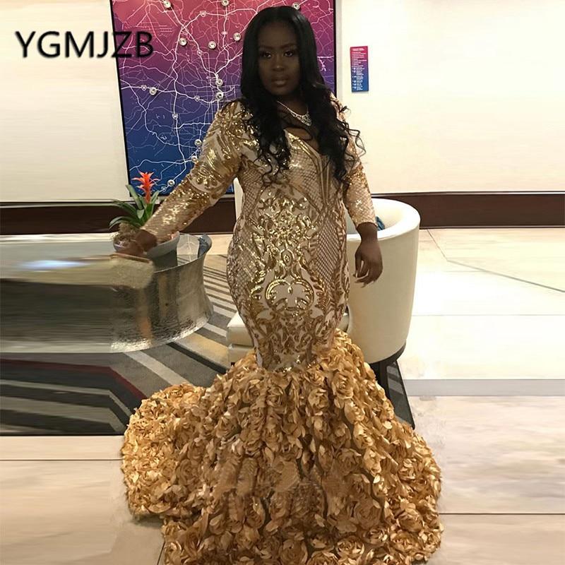 Gold Evening Dresses 2019  Mermaid V-Neck Sequined Long Sleeve Black Girl African Formal Prom Party Dress Vestidos De Gala