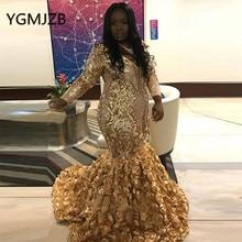 Gold Evening Dresses 2019  Mermaid V-Neck Sequined Long Sleeve Black Girl African Formal Prom Party Dress Vestidos De Gala vestidos de gala dark red mermaid prom dresses 2019 african long sleeve evening dress sheer black girl women party gowns